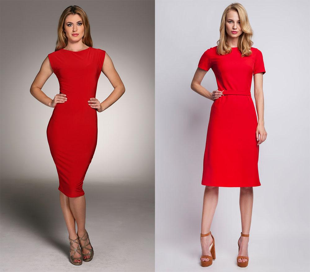 Босоножки с красным обтягивающим платьем