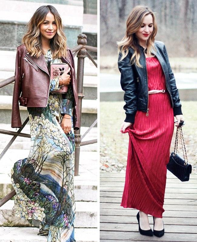 Длинные платья и кожаные куртки