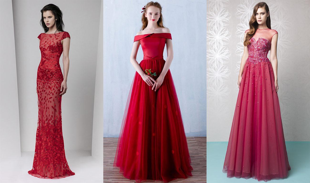 Вечерние красные платья