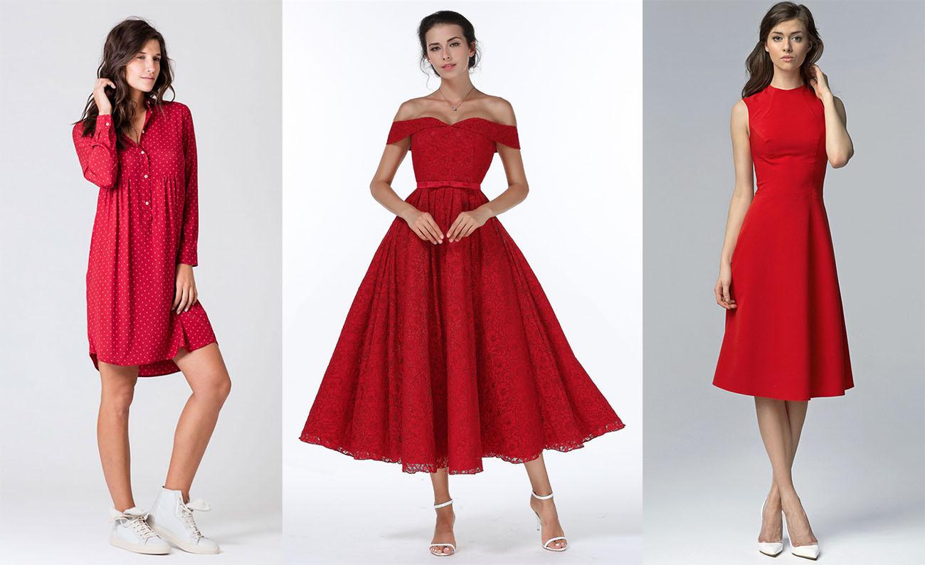 44839264109 Красное платье с белой обувью
