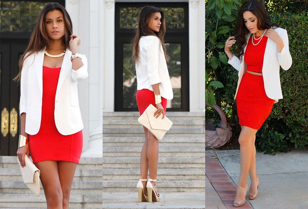 Красное платье с белым жакетом