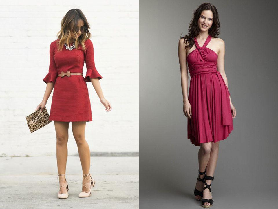 Красное платье без колготок