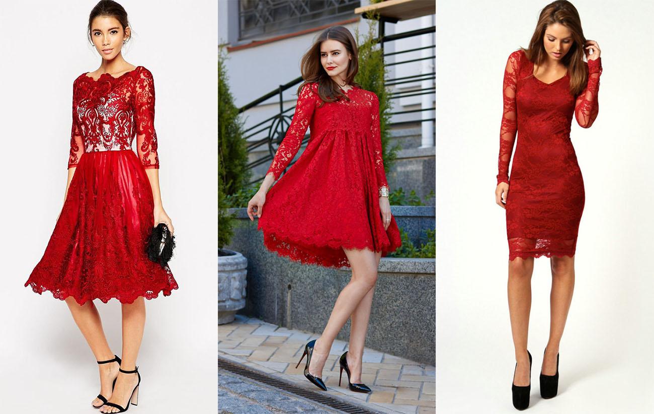 4885615bf02 Кружевное красное платье с чёрной обувью