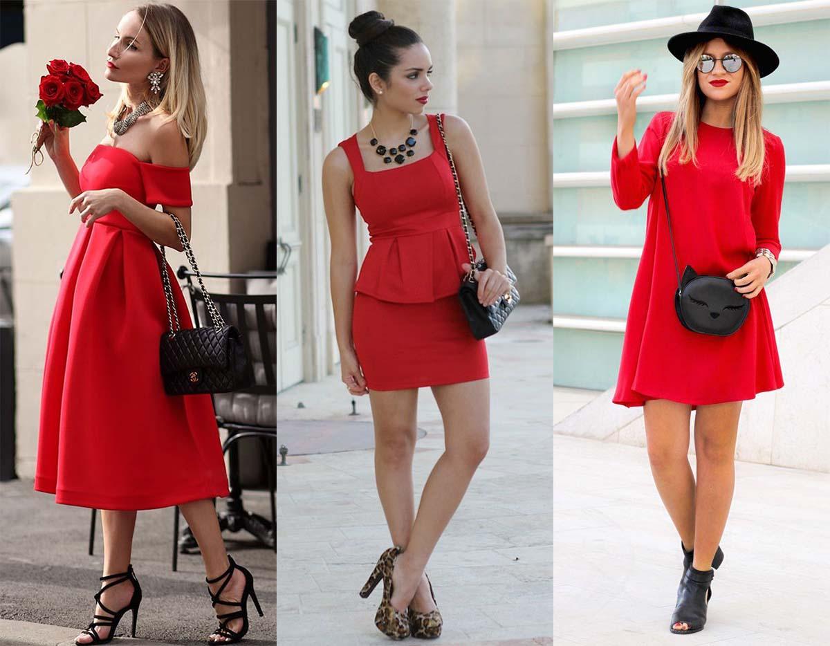 1d1a708b076 Красное платье и чёрная сумочка