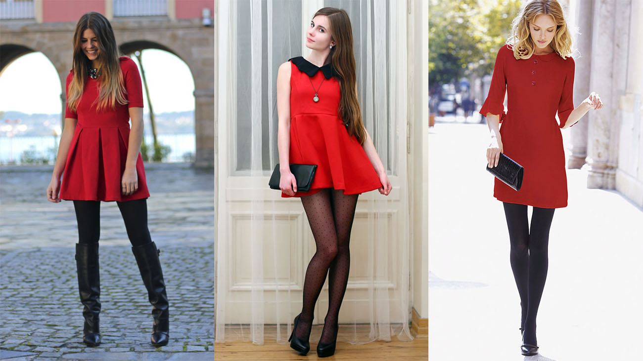 Красное платье с чёрными колготками