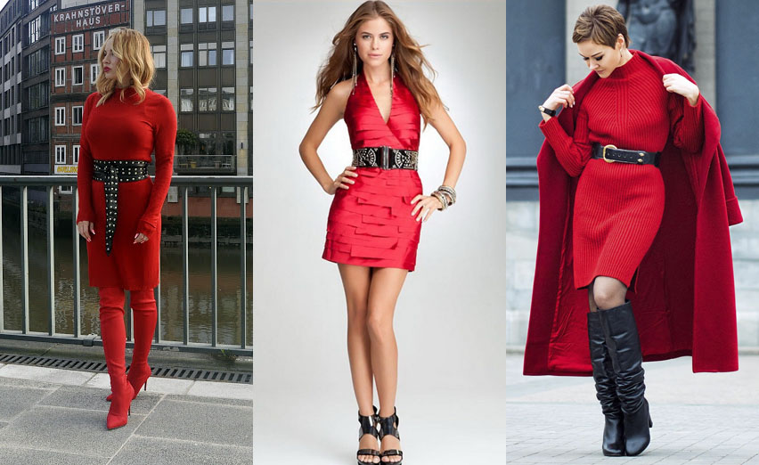 2e7f8e0eaa7 Красное платье с широким ремнём