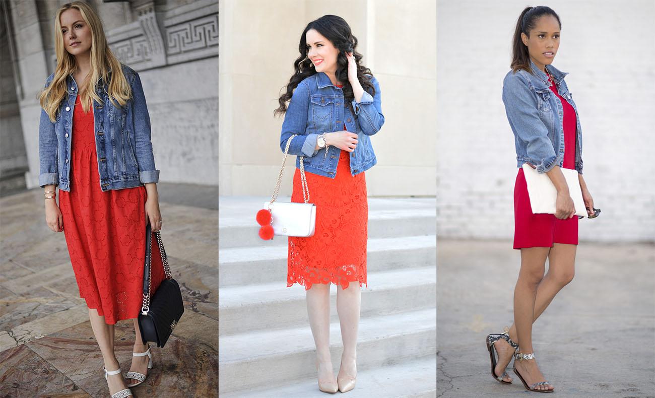 Красное платье с джинсовкой