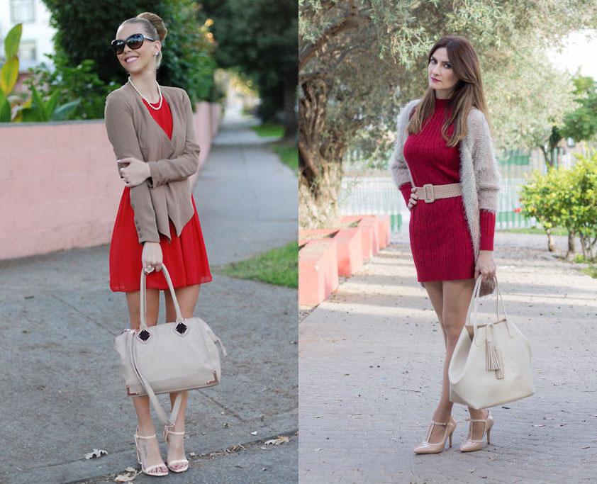 Красное платье с кардиганом
