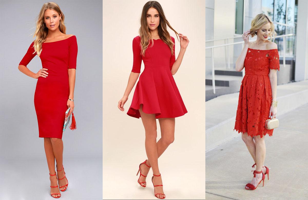 Красные босоножки и красное платье