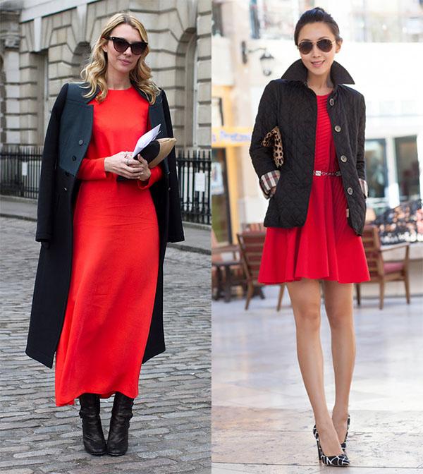 Верхняя одежда с красным платьем