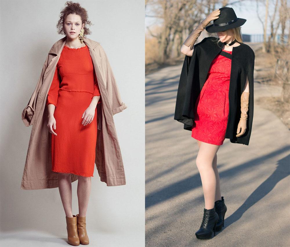 Верхняя одежда к красному платью