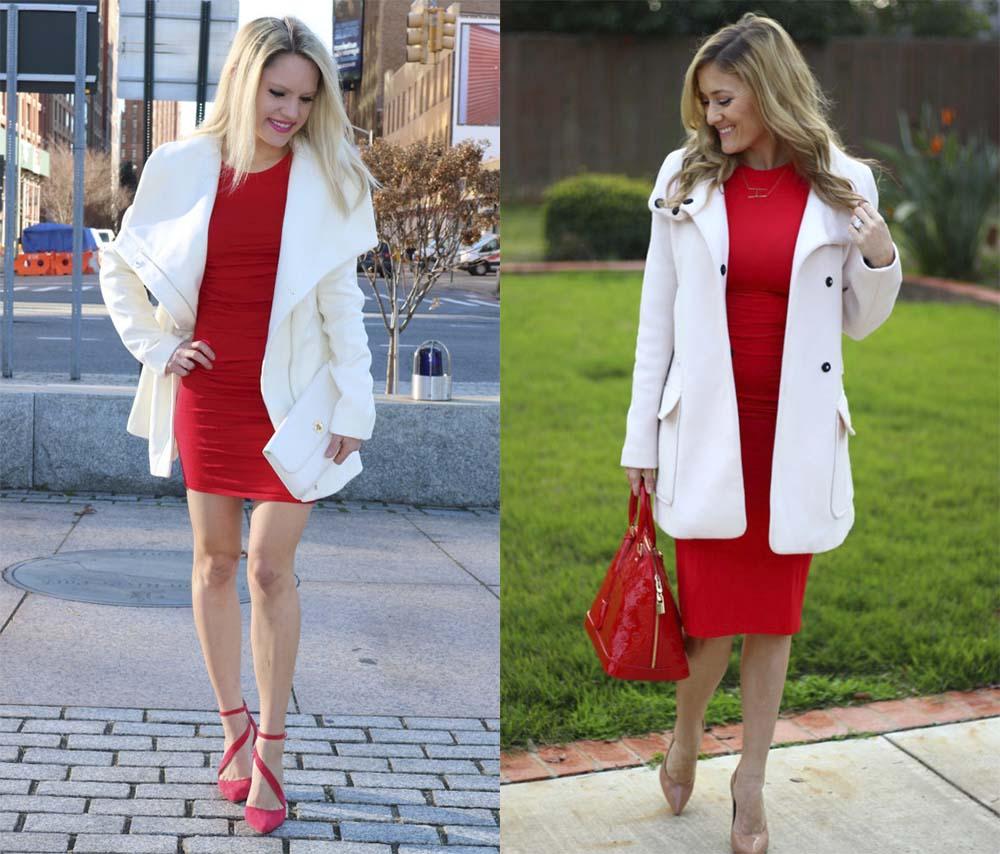Красное платье и белая верхняя одежда