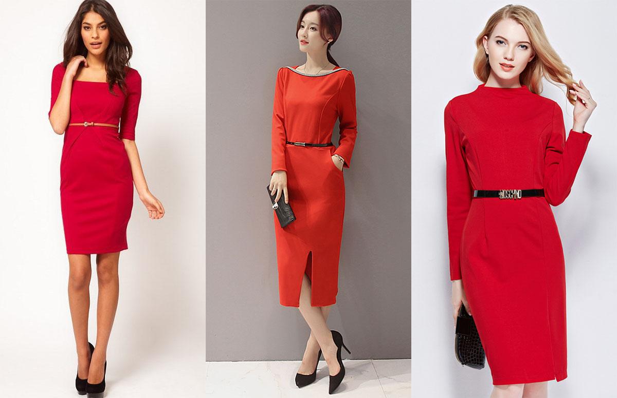 Красное платье с тонким ремешком bf2a99b28496e