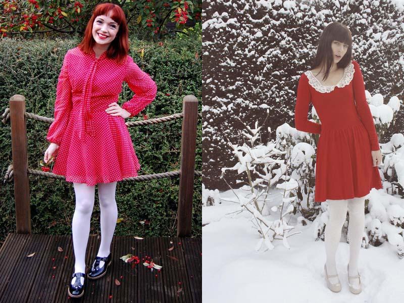 Красное платье с белыми колготками