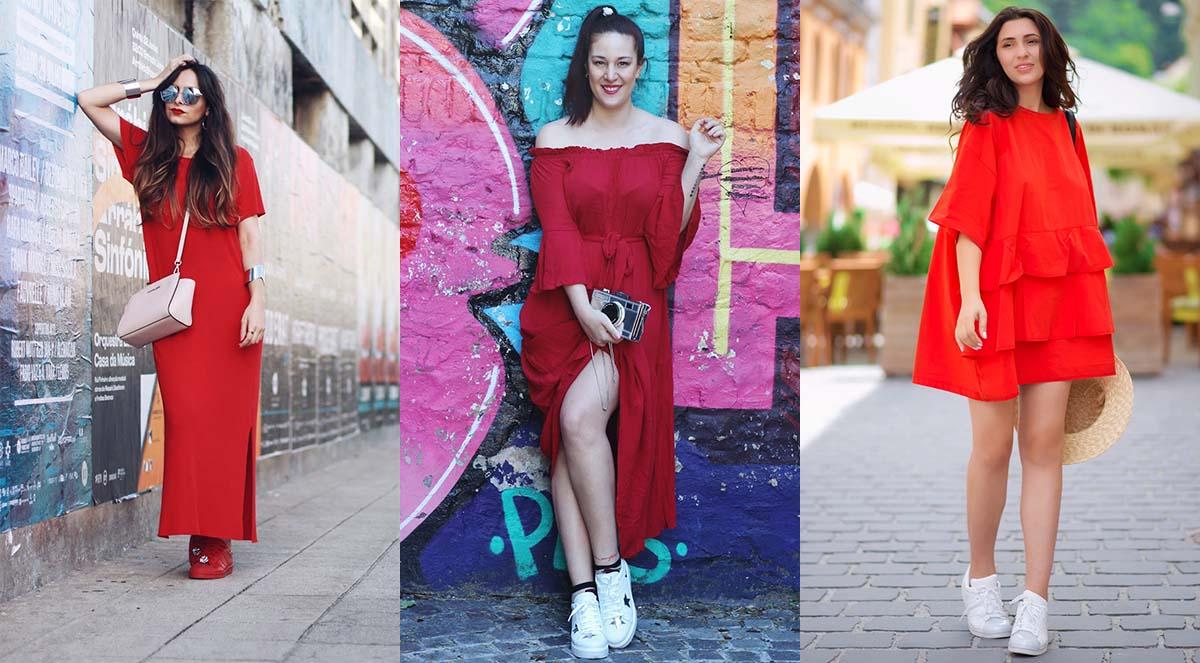 Красное платье с кроссовками