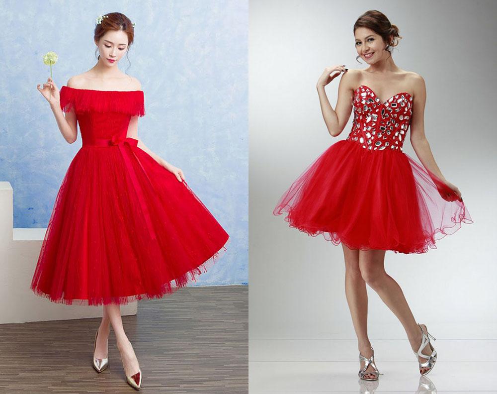 Красное платье с серебряной обувью