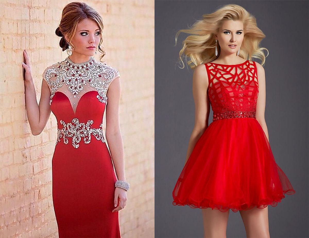 Серебряные украшения с красным вечерним платьем