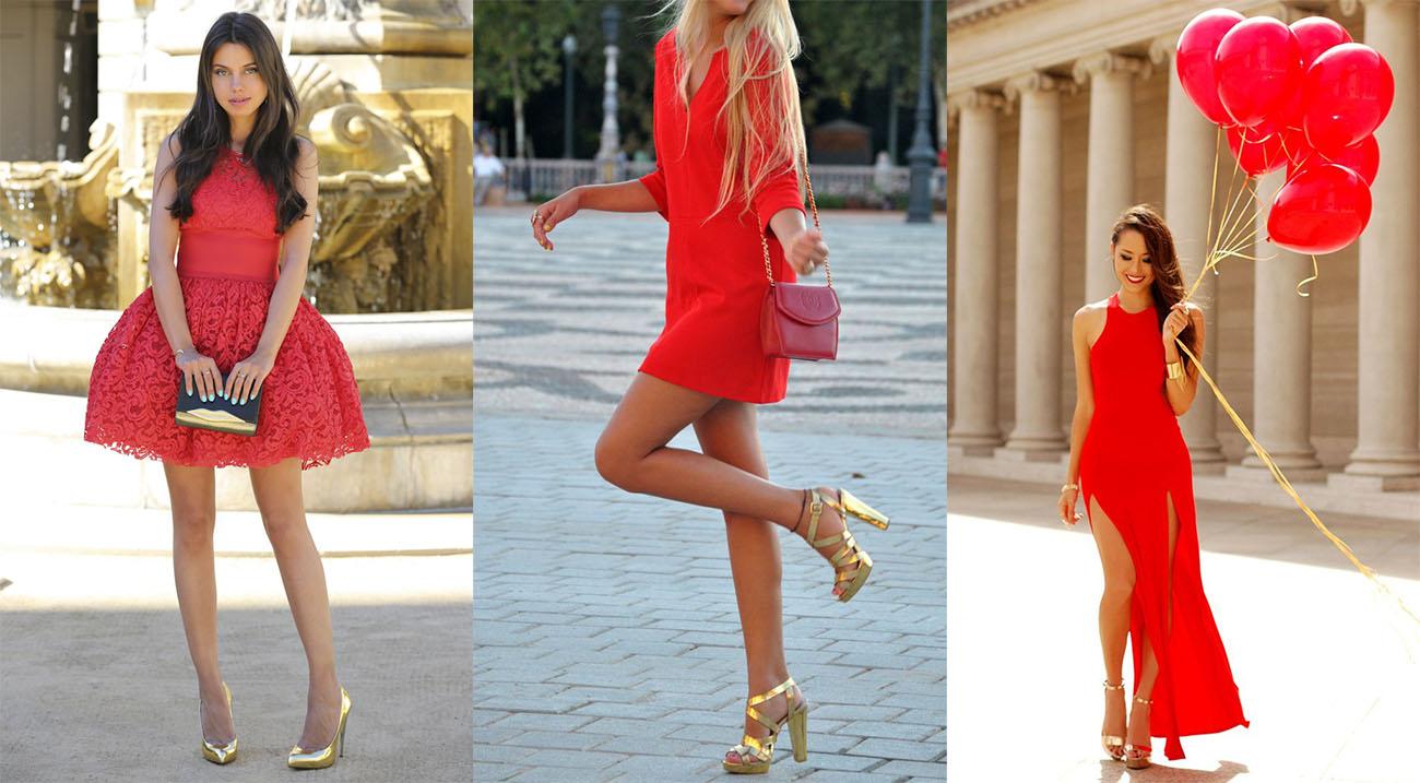 Красное платье с золотой обувью