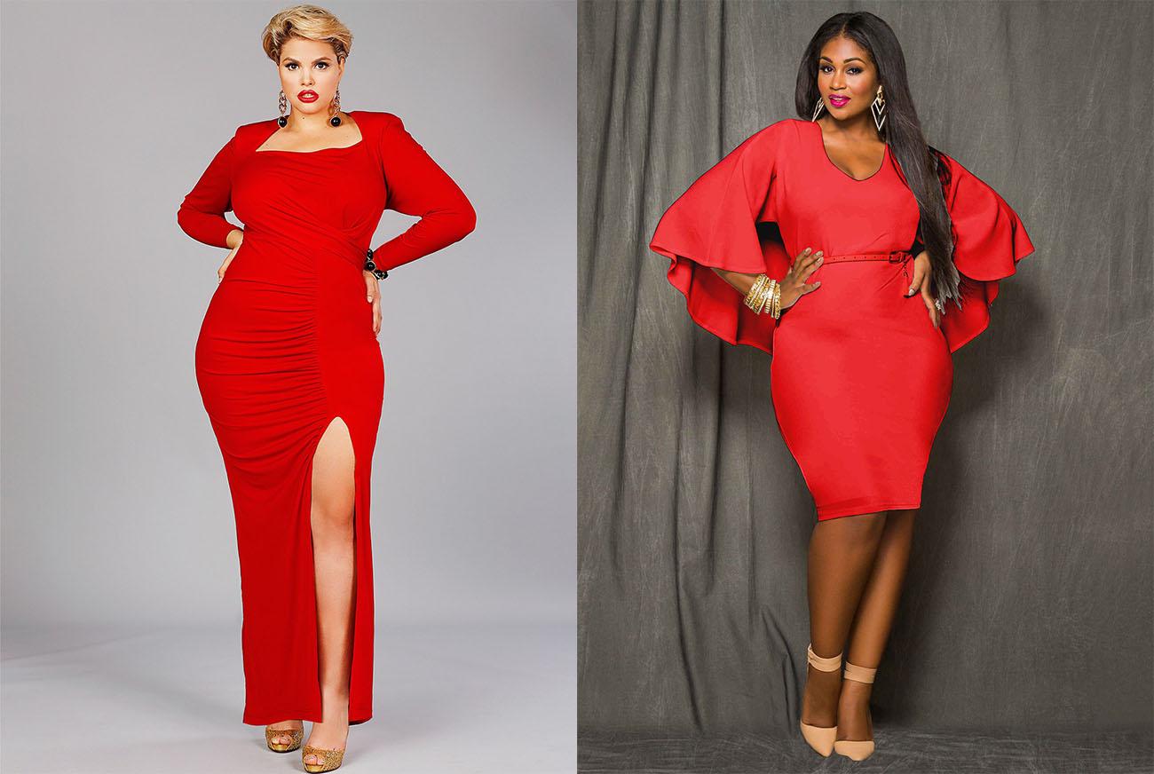 Полные дамы в облегающем красном платье
