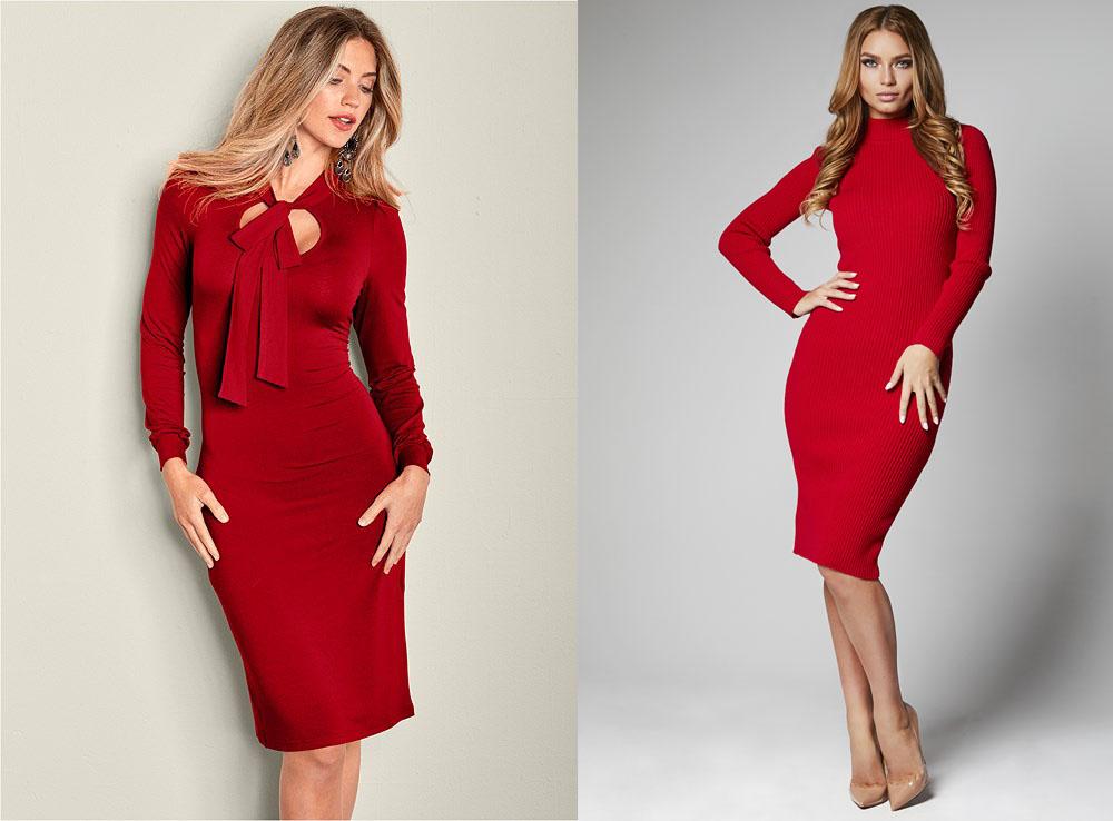 Облегающие красные платья
