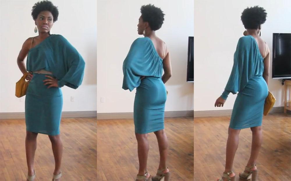 Платье из широких трикотажных брюк на резинке
