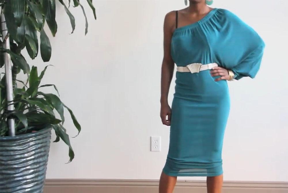 Платье из широких трикотажных брюк на резинке фото 1