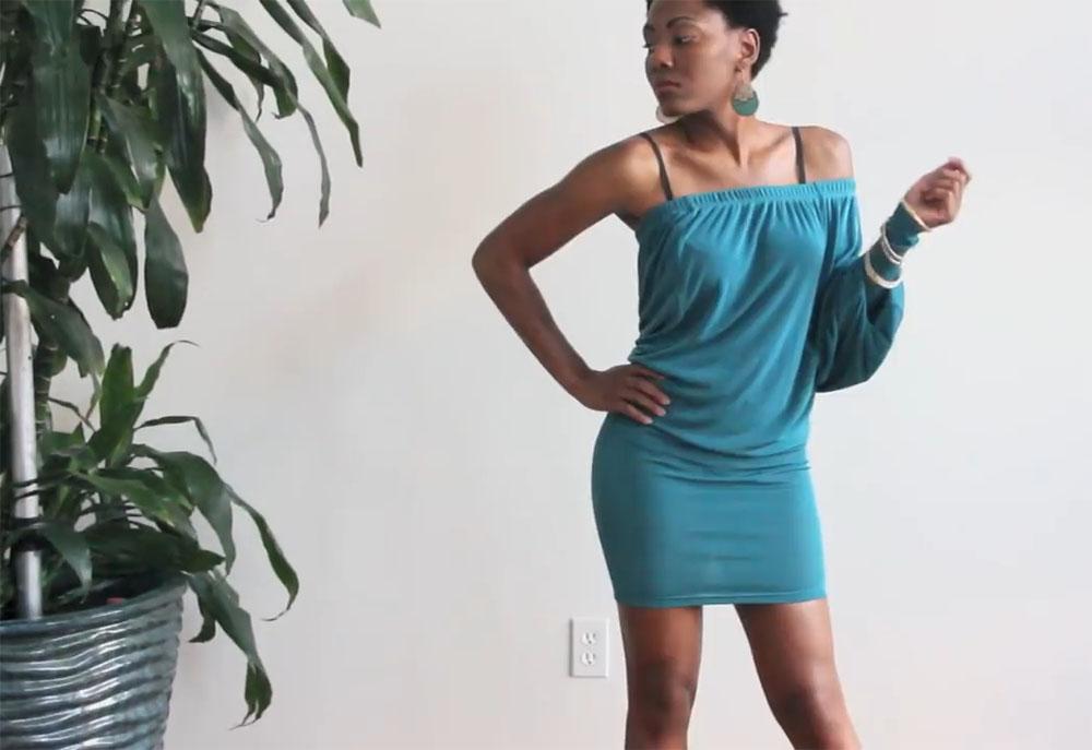 Платье из широких трикотажных брюк на резинке фото 2