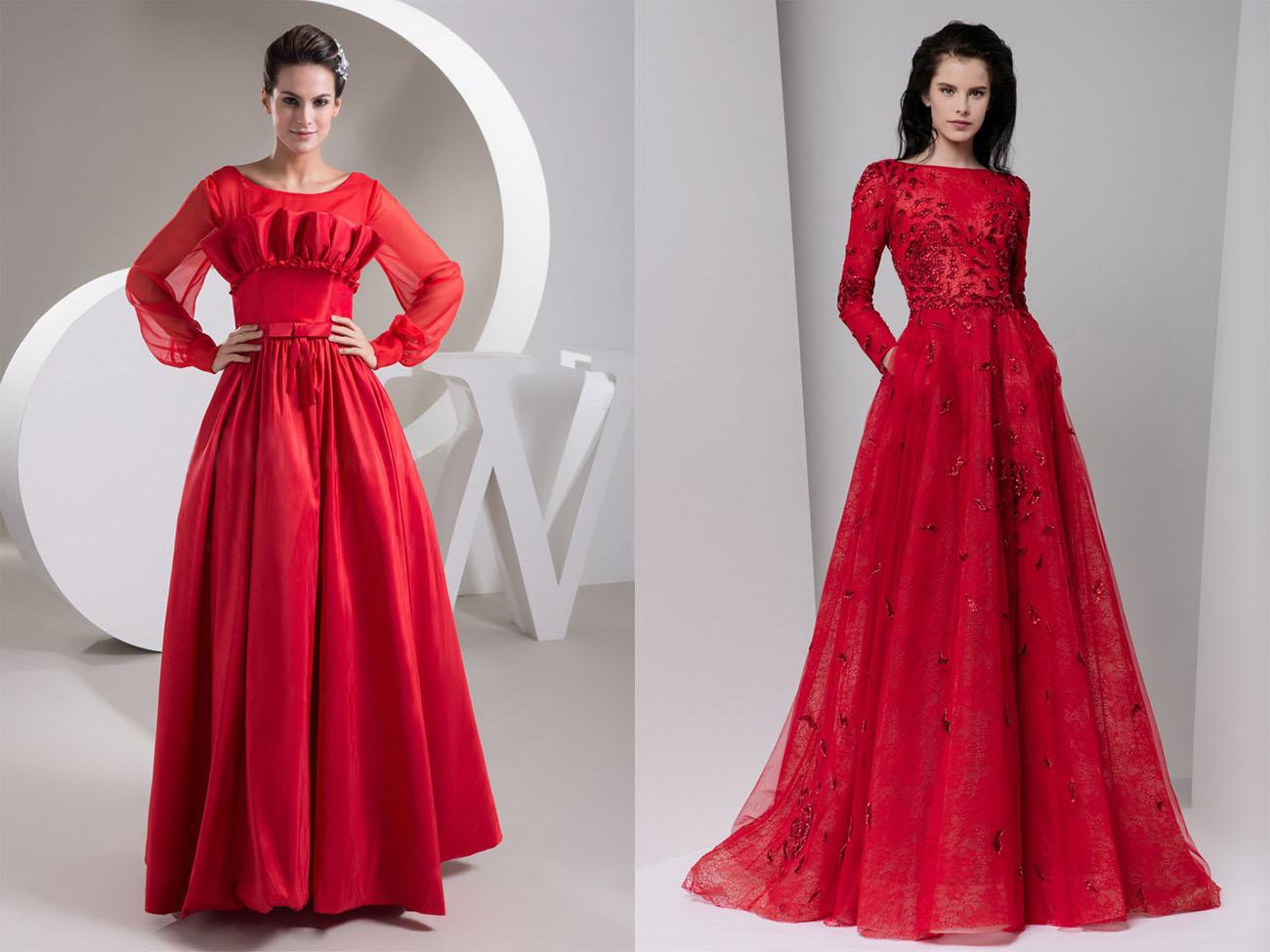 Вечерние красные платья с длинным рукавом