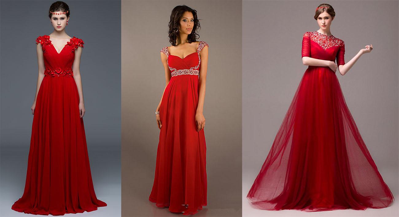 Вечерние красные платья длиной в пол