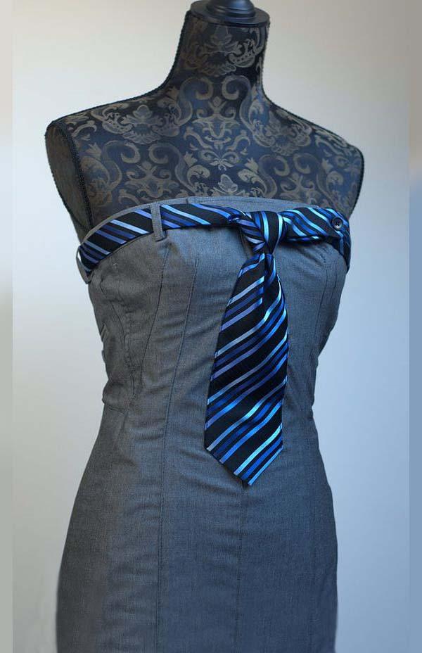 Платье из брюк с галстуком