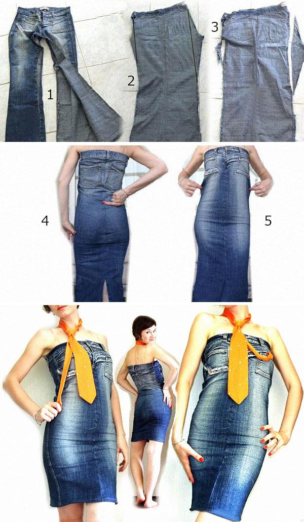 Платье из джинсов своими руками