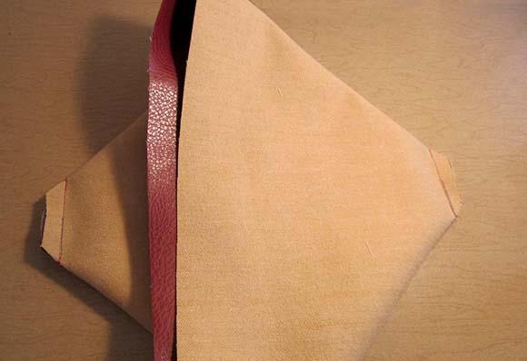 Сшивание углов полотна сумки