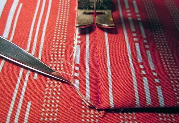 Пришивание кармана к подкладке сумки