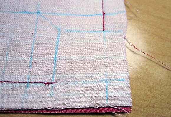 Сшивание подкладки сумки