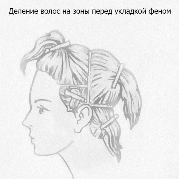 деление волос на зоны.