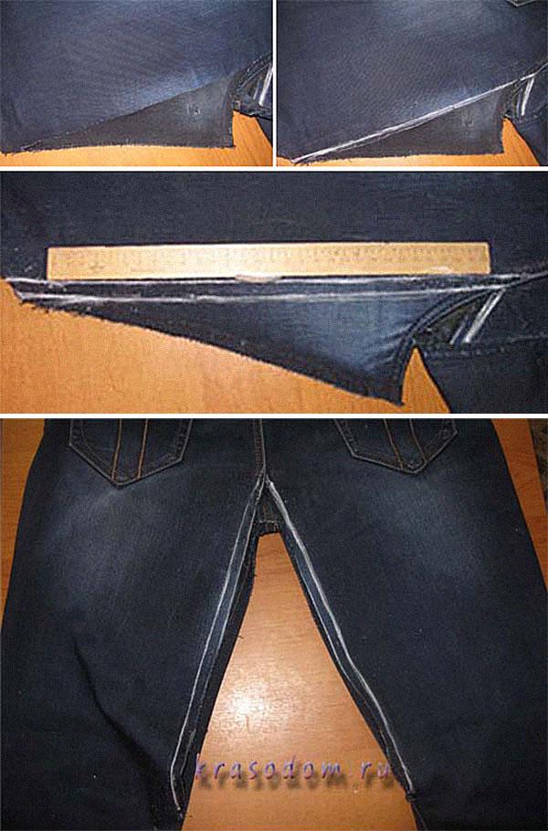 Как поставить заплатку на джинсы штанымежду ногна коленке
