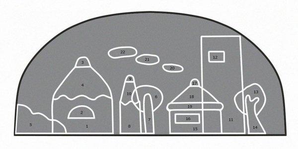 Выкройка и схема передней части косметички