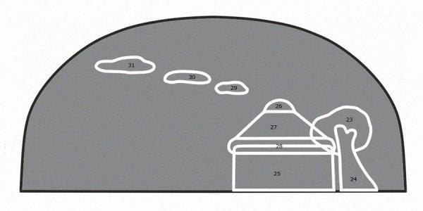 Выкройка и схема задней части косметички