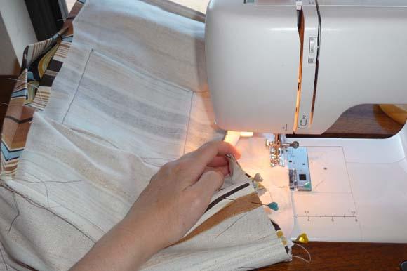 Пошив сумки из ткани: соединение подкладки с лицевой частью шаг 3