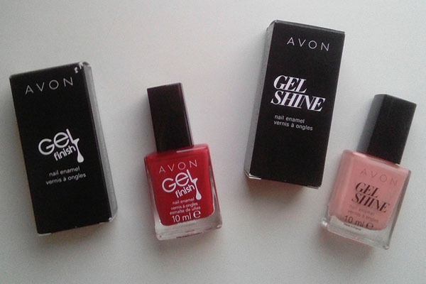 Лаки Avon Gel finish Roses are red и Gel shine Dazzle pink